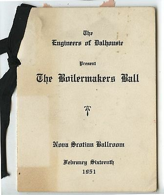 Old 1951 Dalhousie University engineers The Boilermakers Ball Dance Card