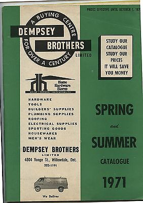 Old 1971 Dempsey Brothers Home Hardware Catalog Willowdale Ontario