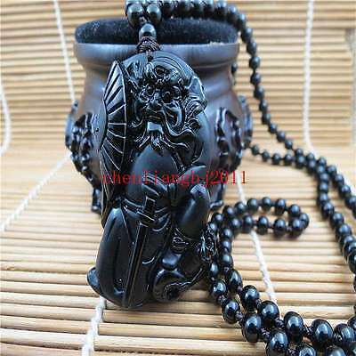 Beautiful Chinese natural obsidian carved dragon jade pendant necklace Zhong Kui