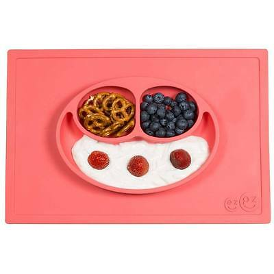NEW ezpz Happy Mat Toodler Kids Feeding Silicone Placemat Dinnerware - Coral