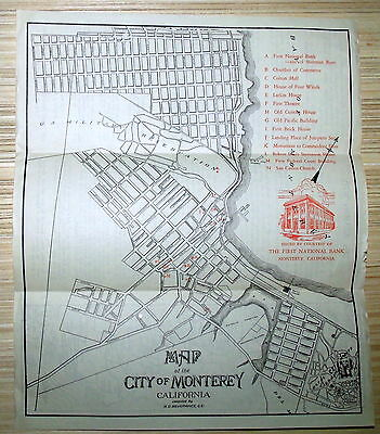 Map of the City of Monterey, California, First Nation Bank, circa 1930