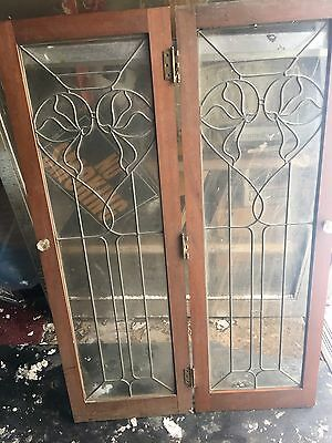 Great Old Set Of Heart Shaped Leaded Glass Doors 1920's For Repurpose