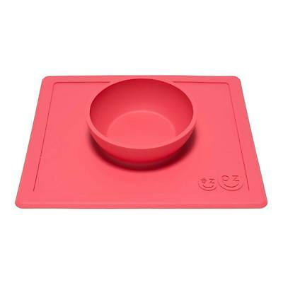 ezpz Happy Bowl Baby Toddler Kids Feeding Silicone Placemat Dinnerware - Coral