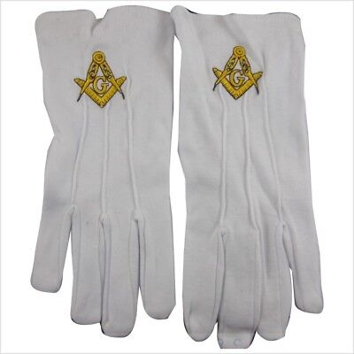 Masonic Lodge Cotton White Gloves Freemasons Square and Compass Embroidered