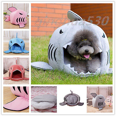 Shark Mouth Puppy Pet Dog Cat House Warm Sleeping Bag Soft Bed Kennel Cushion