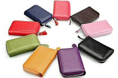 New Mini Genuine Real Leather Credit ID Business Card Holder Pocket Wallet