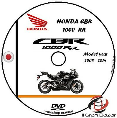 Manuale Officina Honda Cbr 1000Rr My 2008 - 2014 Workshop Manual Service Cd Dvd