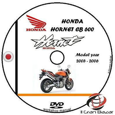 Manaule Officina Honda Hornet Cb 600F My 2005-2006 Workshop Manual Cd Dvd