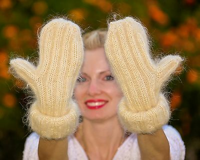 New Hand knitted mohair mittens fluffy THICK IVORY CREAM hand warmers SUPERTANYA