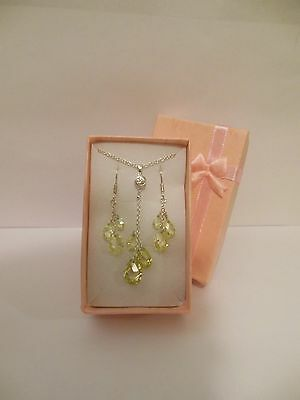 Fine STERLING Silver 925 CRYSTAL Lariat Necklace Earring Set A Great Gift Idea!