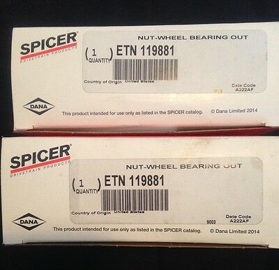 NEW Lot of 2 Spicer Eaton Outer Wheel Nuts - Part# 119881