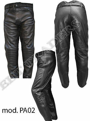 MENS BLACK LEATHER MOTORBIKE/MOTORCYCLE TROUSERS with Protection-New year Offer