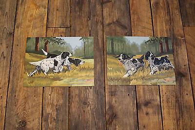 """2 Piece Lot / 1960s Vintage  """" Paint by Number """" Paintings """" HUNTING SPANIELS """""""
