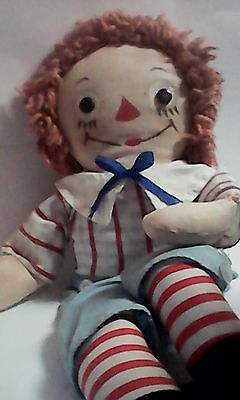 Late 50's Vintage Georgene Raggedy Andy doll 15'' with rare Knickerbocker outfit