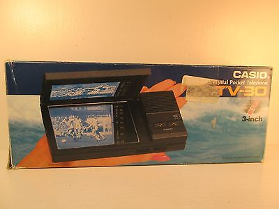 Vintage Casio Crystal Pocket Television TV-30 with Original Box and Accessories
