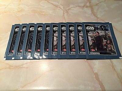 10 Sealed Topps Disney Star Wars Rogue One Sticker Packets