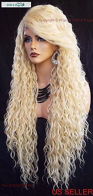 """36"""" X-Long Lace Front Deep C-Part High Heat Safe Wig Color 613 Sexy 360"""