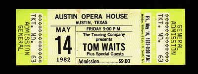Tom Waits Rare Original Vintage 1982 Austin Texas Concert Ticket