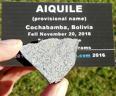 "1st on eBay!  8.25g  ""Aiquile"" Meteorite slice from Nov 20, 2016 fall in Bolivia"