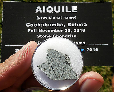 "1st on eBay!  2.83g  ""Aiquile"" Meteorite slice from Nov 20, 2016 fall in Bolivia"
