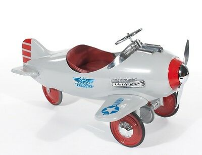 Silver Pursuit Pedal Plane  Air Flow  Classic Style Kids Pedal Car