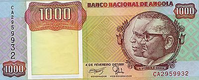 B033 World Collector Notes Rare Angola 1000 Kwanzas 1991 Signature 17 Beautiful