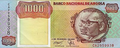 B034 World Collector Notes Rare Angola 1000 Kwanzas 1991 Signature 17 Beautiful