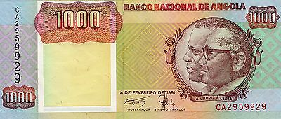 B035 World Collector Notes Rare Angola 1000 Kwanzas 1991 Signature 17 Beautiful