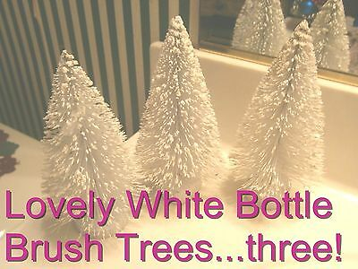 vtg Xmas bottle brush trees (3)  ShAbBy White mica glitter  train village
