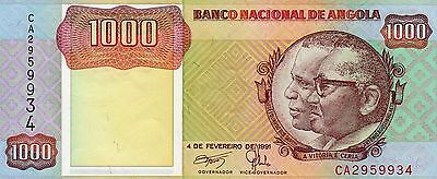 B037 World Collector Notes Rare Angola 1000 Kwanzas 1991 Signature 17 Beautiful