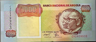 B038 World Collector Notes Rare Angola 1000 Kwanzas 1991 Signature 17 Beautiful