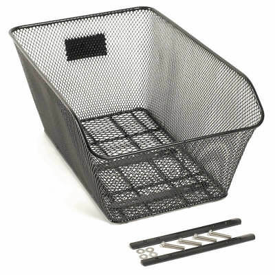 Bike Basket Rear Carrier Mount - Low Profile - Black Metal Mesh ZenedaSports