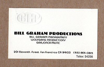 Bill Graham Productions Business Card 1970's Vintage Authentic Fillmore SF Sound