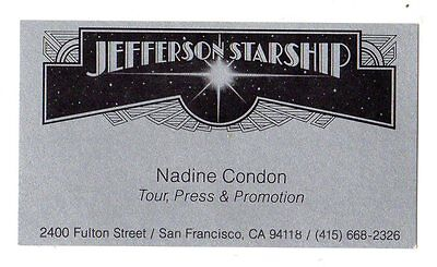 Jefferson Starship Business Card 1970's Vintage Authentic Tour Manager EXC RARE