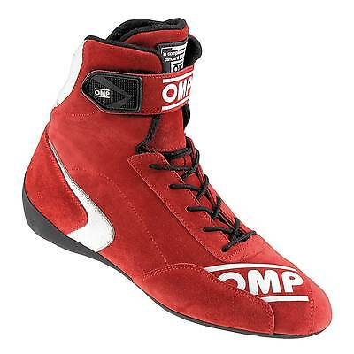 OMP First High FIA Approved Suede / Nomex Race Boots Red - UK 7 / Eur 41