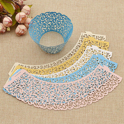 50 Pcs Hollow Out Lace Cupcake Holder Wraps Liners Wedding Decor Baking Supplies