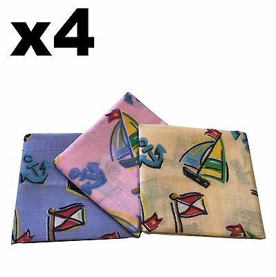 Childrens Handkerchiefs - 4 pack Sailing Boats 25x25cm Hankies - Cotton Hanky