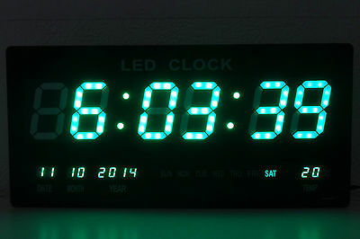 XXL LED Digital Wall Clock with Date Temperature Watch Green 455x220x33mm