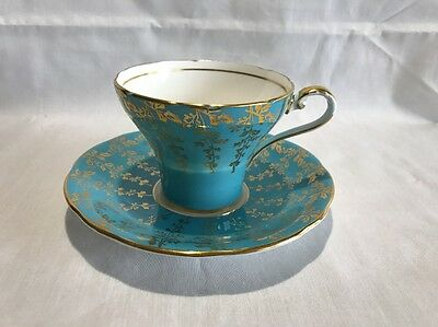 Aynsley Turquoise Tea Cup With Gold Flower Pattern Bone China England