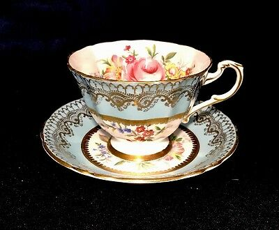 Paragon Blue Tea Cup Set With Rose Flower Bone China Made In England