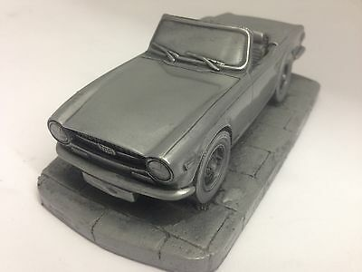 TR6 Pewter Effect 1.32 Scale Model Car Made In Sheffield