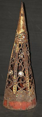 Gold pointed cone metal cut out vintage shabby gold BURMA spire chippy chic OLD!