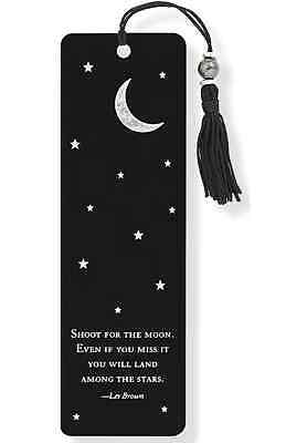 Bookmark With Moon Stars And Silver Foil Highlights - NEW Reading Book Gift Idea