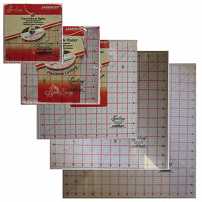 """Sew Easy Square Craft Patchwork Quilting Ruler 5 Size 4.5"""" 6.5"""" 9.5"""" 12.5"""" 15.5"""""""