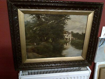 Fine 19th c,Framed English School Oil on Canvas. Summer River and Figures View.