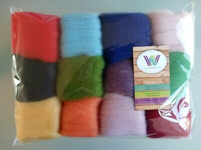 60 grams Pure Wool Tops Felting Set 12 colours B
