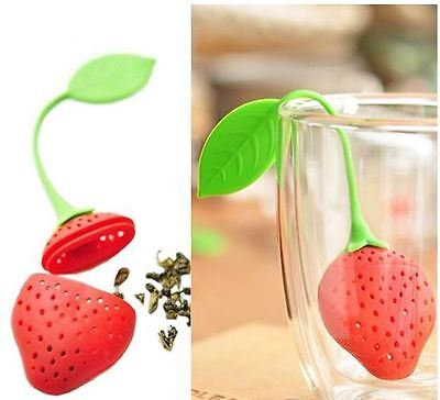 Silicone Strawberry Loose Tea Leaf Strainer Herbal Spice Infuser Filter