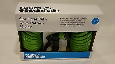 **NEW** 25 ft. Coil Hose With Multi-pattern Nozzle attatchment indoor oudoor use