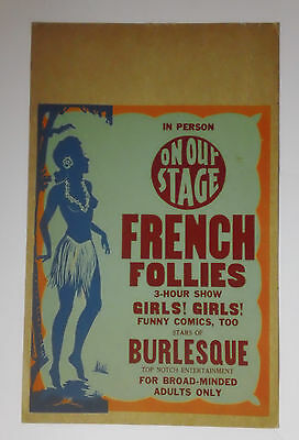 FRENCH FOLLIES - 1940 Kroger Babb BURLESQUE stage show WC - Rare EXPLOITATION