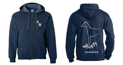 Whippet Dog Breed Hoodie,  Dogeria Breed Design, Men's & Ladies sizes